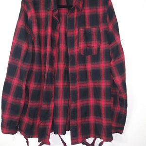 Carbon Red&Black Mens plaid button down  Shirt